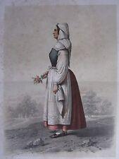1872 PRINT SWEDISH PEASANT COSTUME WOMAN DISTRICT OF ONSJO Skanska Folkdragter
