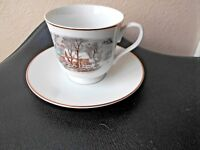 Avon Fine  Porcelain Currier Ives Cup and Saucer Set 7 cups 7 saucers