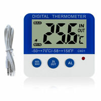 Mini Home Digital Thermometers In/Out door ℃/℉ LED Light Temperature Alarm