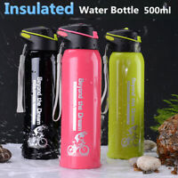 Portable 500ML Stainless Steel Sport Drink Water Bottle Insulated With Straw