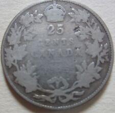 1915 Canada Silver Twenty-Five Cents Coin. KEY DATE (RJ239)