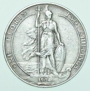 SCARCE 1904 EDWARD VII FLORIN, BRITISH SILVER COIN VF