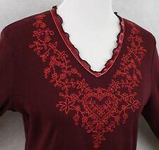 Mark & Spencer Stunning Cranberry Cotton Glitter Stitch & Beads Blouse SZ L EUC