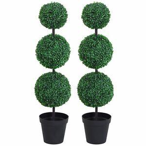 PE Set of 2 Artificial Boxwood Three Balls Topiary Plant Tree's Green