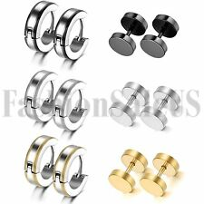 12pcs Men's Womens Stainless Steel Dumbell Hoop Huggies Ear Studs Plugs Earrings