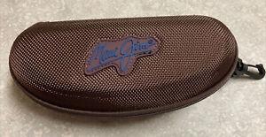 Maui Jim Brown Sunglass Case Semi Hard Clam Shell Zipper And Clip