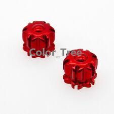 Motorcycle Presta Aluminium CNC Alloy Valve Caps Dust Covers x2 Red