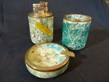 Old Vtg Marble Table Cigarette Lighter & Ashtray Set of 3 Made In Italy