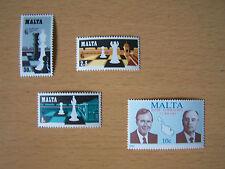 MALTA,CHESS SET, BUSH GORBACHEV MEET.4VALS,U/MINT.EXCELLENT.