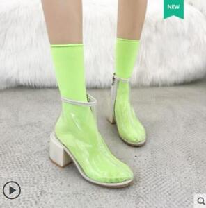 Womens Transparent Clear Back Zip Ultra-light Ankle PVC Rainboots Sneaker Shoes