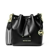 Michael Kors Eden XS Mini Drawstring Bucket Crossbody Bag Coated Leather Black