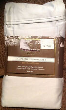 TWO FIELDCREST LUXURY 800 THREAD COUNT EGYPTIAN COTTON PILLOWCASES KING Gray