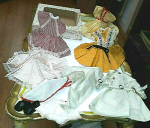"VINTAGE 12"" IDEAL SHIRLEY TEMPLE DOLL CLOTHES DRESSES SHOES ORIG BOX LOT"