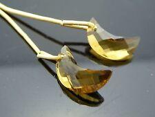 Vintage Smoky Quartz Faceted Crescent Half Moon Gemstone  Briolette Two Pieces
