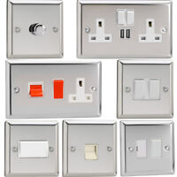 Varilight Mirror Chrome Standard Plate Switches, Sockets, etc with White Inserts