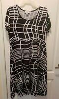 Avenue Black White Short Sleeve Stretch A-Line Dress Plus Size 14/16 XL