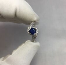 NATURAL 0.85ct Unheated Blue Sapphire And Diamond Ring White Gold Crossover