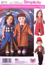 "18"" GIRL & BOY DOLL CLOTHES Dr. Who*American Made Simplicity Sewing Pattern 8111"