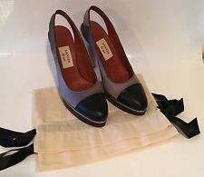 REDUCED Lanvin Platform Slingback Heels $1178  Silver Silk Black Leather Size 40