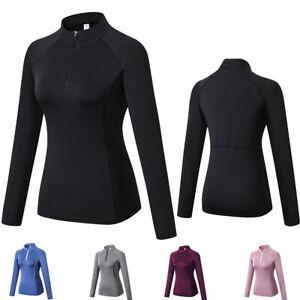 Womens Thumbhole Workout 1/4 Zip Mock Compression Shirt Running Yoga Base Layer