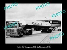 OLD POSTCARD SIZE PHOTO OF CALTEX OIL COMPANY FUEL TANKER c1970s AEC TRUCK