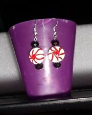 Glass Peppermint Candy Earrings/black glass beads-Nickel Free silvertone wires