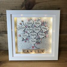 Personalised LED Light Box Frame Family Scrabble mum Grandma Nana Gift Keepsake