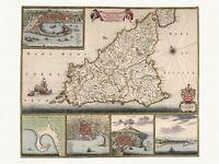 Old Antique Palermo Messina Sicily Italy decorative map de Wit ca. 1682