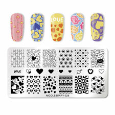 Nail Art Stamping Plate Image Decoration Valentines Day Love Hearts Letter ND28
