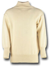 WHITE / ECRU ROYAL NAVAL SUB SWEATER 100% WOOL ROLL NECK [70953]