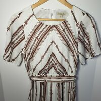 Polagram Vintage Inspired Maxi Long White Maroon Dress Embroidered Look Small