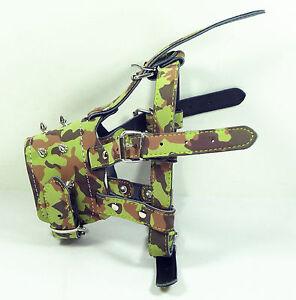 Adjustable Secure Camo Leather Spiked Dog Muzzle Boxer English Bulldog Husky