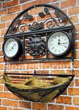 Giardino in metallo per Appendere Cestino Piante Wall Mounted Clock & Termometro Outdoor gctc
