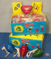 Store Display Box of 24 ~ Old Wood Spinning Tops ~ 1950s Classic Toy with String