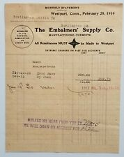 1919 Letterhead Connecticut Westport The Embalmers Supply Company Funeral