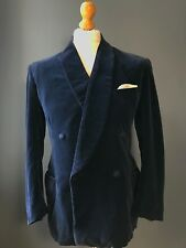 Vintage 1960's blue shawl collar double breasted smoking jacket size 40
