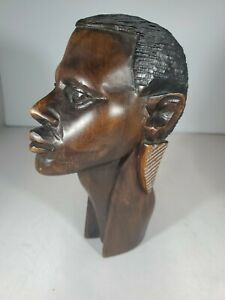 African Male Wooden Head. Mahogany??