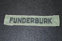Vietnam War Era US Army Name Tape 'FUNDERBURK' OG-107 Embroidered Original