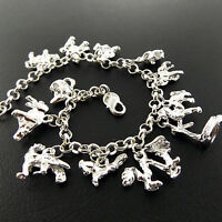 Charm Bracelet Bangle Real 925 Sterling Silver S/F Solid Traditional Design