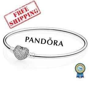 New Authentic Pandora Silver Jewelry Chain Bracelet Heart Clasp Charm Fashion