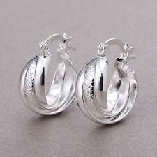 Women Fashion 925 Silver Ear Stud Huggie Earrings Wedding Engagement Jewelry