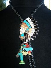 Zuni Sterling Inlay Turquoise Spiny Oyster Onyx Indian Chief Headdress Pendant
