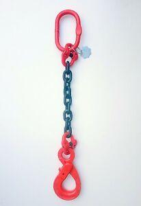 1 Leg 8 Ton Chainsling - DropChain G80 + Self Locking Hook & Certificate 8t 16mm