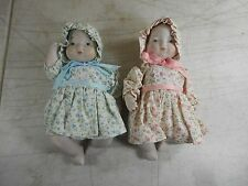 "NEW Lot of 2 Goebel Baby Bonnet 7"" Porcelain Dolls - Jane (Blue) & Jean (Pink)"