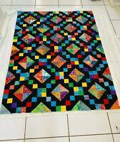 "Unfinished BATIK Quilt Top Approx.48"" x 64"" Multicolor on Black"