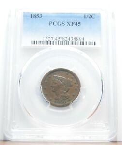 1853 Braided Hair Half Cent PCGS VF45