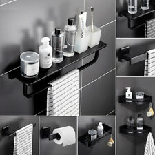 Black Matt Painting Finish Bathroom Holder Rail Rack Bar Hook Wall Mounted Set
