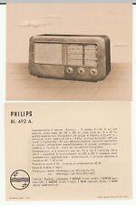 RARA ANTICA  PUBBLICITA RADIO D'EPOCA - MODELLO PHILIPS BI 492 A - 1949