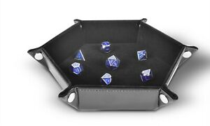 Folding Hexagon Dice Tray PU Leather and Black Velvet by RNK Gaming