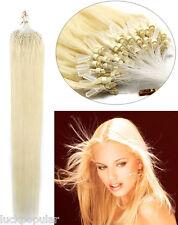 "100S Micro Loop Ring Bead Tip Remy Human Hair Extensions 16"" Platinum Blonde 60"